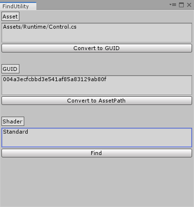 Unity FindUtility Window Snapshot